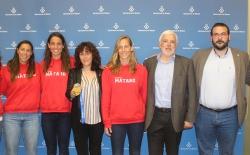 Recepció a l'Ajutament de les Campiones d'Europa; la Marta, l'Anni i la Irene